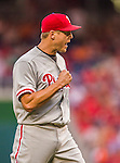 6 September 2014: Philadelphia Phillies pitcher Jonathan Papelbon pumps his fist after closing out the game against the Washington Nationals at Nationals Park in Washington, DC. The Nationals fell to the Phillies 3-1 in the second game of their 3-game series. Mandatory Credit: Ed Wolfstein Photo *** RAW (NEF) Image File Available ***