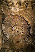 Ancient carvings in the ceiling of Mikael Melehayzenghi rock hewn church