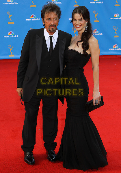 AL PACINO & LUCILA SOLA.62nd Annual Primetime Emmy Awards held at NOKIA Theatre L.A. LIVE, Los Angeles, California, USA..August 29th, 2010.full length dress maxi black strapless suit clutch bag couple .CAP/ADM/KB.©Kevan Brooks/AdMedia/Capital Pictures.