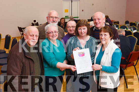 Sliabh Luachra Active Retired Network are setting up a Community Choir for Older People, starting on Monday February 12, in Lyreacrompane Community Centre. Pictured were: Jimmy Roche, Kitty O'Connell, Larry Long, Breda Keane, Mick Naughton, Jim Hickey and Julie Ahern.
