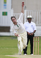 Tom Wakeford bowls for North London during the Middlesex County Cricket League Division Three game between North London and South Hampstead at Park Road, Crouch End on Sat June 21, 2014.