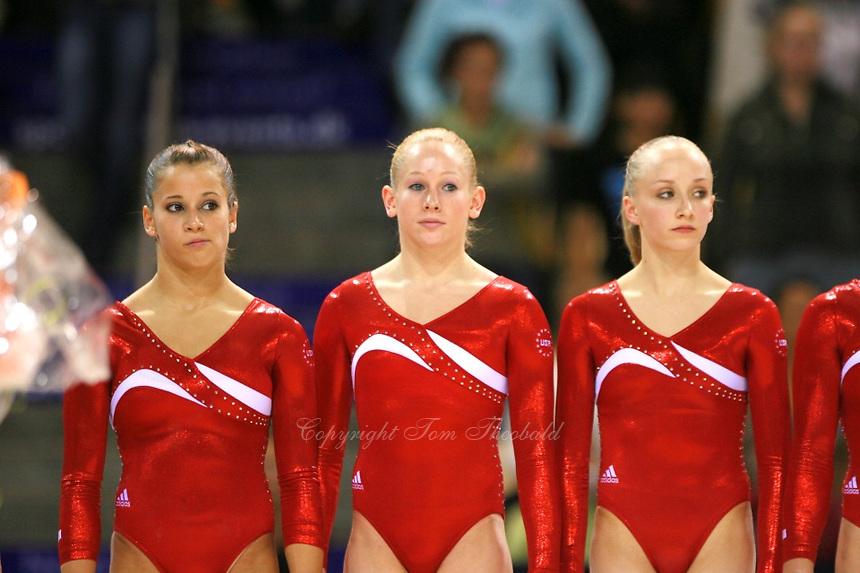 Oct 18, 2006; Aarhus, Denmark; (L-R) Alicia Sacramone, Jana Bieger, Nastia Liukin of team USA celebrate winning silver in women's team final competition at 2006 World Championships Artistic Gymnastics.