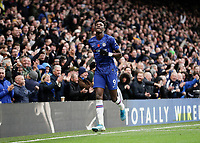 9th November 2019; Stamford Bridge, London, England; English Premier League Football, Chelsea versus Crystal Palace; Tammy Abraham of Chelsea celebrates scoring his sides 1st goal in the 52nd minute to make it 1-0  - Strictly Editorial Use Only. No use with unauthorized audio, video, data, fixture lists, club/league logos or 'live' services. Online in-match use limited to 120 images, no video emulation. No use in betting, games or single club/league/player publications