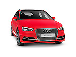 Red 2015 Audi A3 Sportback e-tron plug-in hybrid car. Isolated on white background with clipping path.