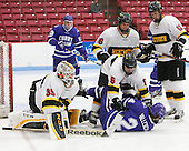 Alex Peck (WIT - 35), Patrick Kearns (WIT - 5), Michael Vallescuro (Curry - 24), Jordan Bourgonje (WIT - 16), Beau Burgau (WIT - 12) - The Wentworth Institute of Technology Leopards defeated the visiting Curry College Colonels 1-0 on Saturday, November 23, 2013, at Walter Brown Arena in Boston, Massachusetts.