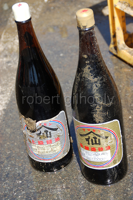 Photo shows bottles of high-grade shoyu soy sauce made by Yagisawa Shoten that were rescued from the debris following the tsunami in Rikuzentakata, Iwate Prefecture, Japan on March 11, 2011. Fumie Abe Photo