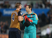 Per Mertesacker and Arsenal goalkeeper Petr Cech celebrate at full time during the Barclays Premier League match between Swansea City and Arsenal played at The Liberty Stadium, Swansea on October 31st 2015