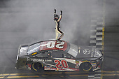 #20: Erik Jones, Joe Gibbs Racing, Toyota Camry buyatoyota.com, celebrates after winning in Daytona.