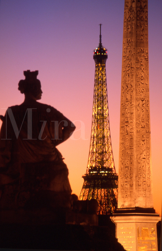 France Paris The Place de la Concorde at dusk