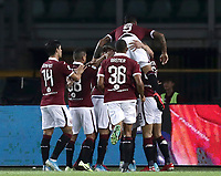 Calcio, Serie A: Torino - Sassuolo, Olympic stadium Grande Torino, August 25, 2019.<br /> Torino's Simone Zaza celebrates after scoring with his teammates during the Italian Serie A football match between Torino and Sassuolo at Olympic stadium Grande Torino, August 25, 2019.<br /> UPDATE IMAGES PRESS/Isabella Bonotto