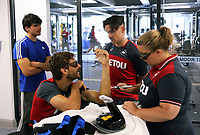 Pictured: Fernando Llorente (2nd L) speaks with Roque Mesa (3rd L) while receiving treatment for a fractured arm by physiotherapist Kate Rees (R). Wednesday 05 July 2017<br />Re: Swansea City FC training at Fairwood training ground, UK