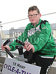 Cormac Agnew who took part in the Square United 10 hour Cyclathon at Super Valu Ardee in aid of Ardee Hospice. Photo:Colin Bell/pressphotos.ie