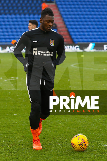 Northampton Town's Aaron Pierre during the pre-match warm-up ahead of the Sky Bet League 1 match between Oldham Athletic and Northampton Town at Boundary Park, Oldham, England on 9 December 2017. Photo by Juel Miah / PRiME Media Images.