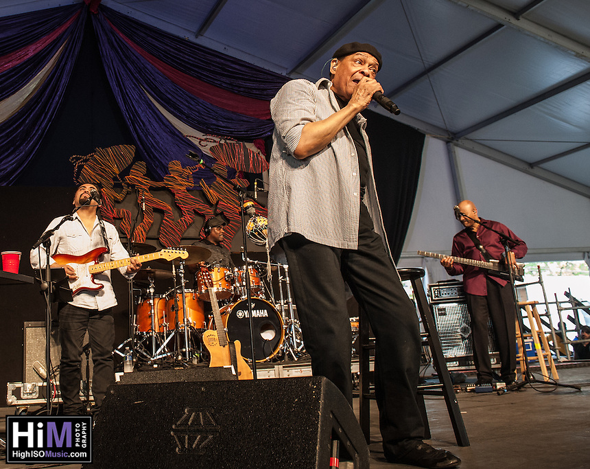 Al Jarreau performs at the 2014 Jazz and Heritage Festival in New Orleans, LA.