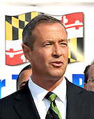 New Carrollton, MD - August 4, 2009 -- Governor Martin O'Malley (Democrat of Maryland) announces his support for the locally preferred alternative (LPA) for the light rail route known at the Purple Line.  It will be a light rail line operating over a 16 mile east-west corridor in the Washington, D.C. suburbs connecting the Red Line Metro Station in Bethesda, Maryland with the Orange Line Metro Station in New Carrollton, Maryland.  .Credit: Ron Sachs / CNP