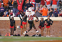 Nov 13, 2010; Charlottesville, VA, USA;  Maryland Terrapins running back D.J. Adams (10) scores a touchdown during the 1st half of the game against the Virginia Cavaliers at Scott Stadium.  Mandatory Credit: Andrew Shurtleff