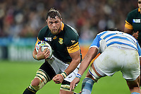 Duane Vermeulen of South Africa in possession. Rugby World Cup Bronze Final between South Africa and Argentina on October 30, 2015 at The Stadium, Queen Elizabeth Olympic Park in London, England. Photo by: Patrick Khachfe / Onside Images