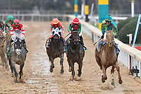 HOT SPRINGS, AR - FEBRUARY 19: Jockey Corey Lanerie #3 (far right) riding Hawaakom and winning the Razorback Handicap at Oaklawn Park on February 19, 2018 in Hot Springs, Arkansas. (Photo by Ted McClenning/Eclipse Sportswire/Getty Images)