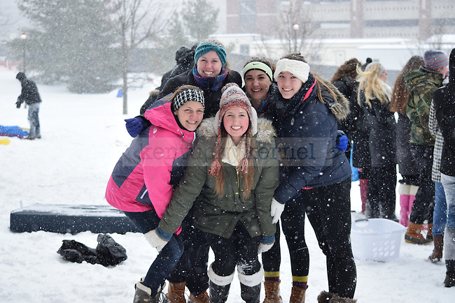 "Freshmen Kappa Kappa Gamma members from left to right: biology major Sara Dryden, undecided Rachel Sunderlin, ISC major Julia Harold, nursing major Julie Lang and international studies major Nora Mattingly huddle together in front of the ""bowl"" on Monday, February 16, 2015 in Lexington, Ky. Photo by Hunter Mitchell 