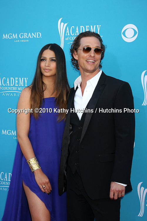 Camila Alves & Matthew McConaughey.arrives at the Academy of Country Music Awards 2010.MGM Garden Arena.Las Vegas, NV.April 18, 2010.©2010 Kathy Hutchins / Hutchins Photo....