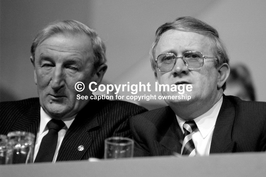 Denis Gallagher, TD, Fianna Fail, left, and Pat Gallagher, TD, Fianna Fail, on platform, Ard Fheis, Dublin, Rep of Ireland, 19880204DG..Copyright Image from Victor Patterson, 54 Dorchester Park, Belfast, UK, BT9 6RJ..Tel: +44 28 9066 1296.Mob: +44 7802 353836.Voicemail +44 20 8816 7153.Skype: victorpattersonbelfast.Email: victorpatterson@me.com.Email: victorpatterson@ireland.com (back-up)..IMPORTANT: If you wish to use this image or any other of my images please go to www.victorpatterson.com and click on the Terms & Conditions. Then contact me by email or phone with the reference number(s) of the image(s) concerned.