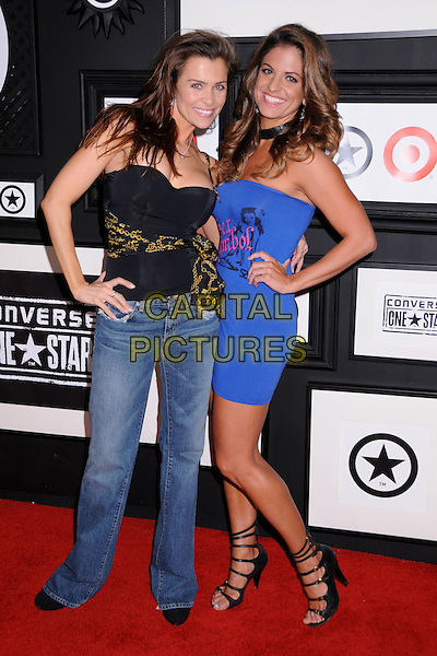 ALICIA ADREN & BRIDGETTA TOMARCHIO.Target & Converse One Star Movie Awards After Party at The Lot,Hollywood, California, USA..June 1st, 2008.full length black top gold pattern sash waist hand on hip blue purple strapless dress jeans denim strappy sandals .CAP/ADM/BP.©Byron Purvis/AdMedia/Capital Pictures.