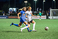 Boston, MA - Friday August 04, 2017: Adriana Leon and Shea Groom during a regular season National Women's Soccer League (NWSL) match between the Boston Breakers and FC Kansas City at Jordan Field.