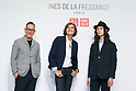 (L to R) Uniqlo Creative Director Naoki Takizawa, fashion model Louis Kurihara, and French model and fashion designer Ines de la Fressange, pose for the cameras during a media event for Uniqlo x Ines de La Fressange AW17 collection, on September 5, 2017, Tokyo, Japan. Japanese casual clothing chain Uniqlo and French fashion icon Ines de la Fressange are collaborating with a Fall/Winter 2017 collection which is being sold in selected Uniqlo stores from September 1st. (Photo by Rodrigo Reyes Marin/AFLO)