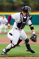 Luke Voit (30) of the Missouri State Bears makes an attempt on a force out at first during a game against the Oral Roberts Golden Eagles on March 27, 2011 at Hammons Field in Springfield, Missouri.  Photo By David Welker/Four Seam Images