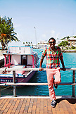 BERMUDA. St. George. Chef Marcus Samuelsson on a bridge in St. George.