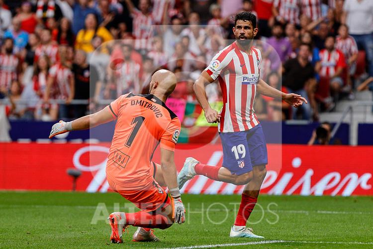 Diego Costa of Atletico de Madrid and Marko Dmitrovic of SD Eibar in action during La Liga match between Atletico de Madrid and SD Eibar at Wanda Metropolitano Stadium in Madrid, Spain.September 01, 2019. (ALTERPHOTOS/A. Perez Meca)