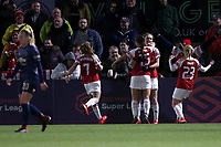Vivianne Miedema of Arsenal scores the first goal for her team and celebrates during Arsenal Women vs Manchester United Women, FA WSL Continental Tyres Cup Football at Meadow Park on 7th February 2019