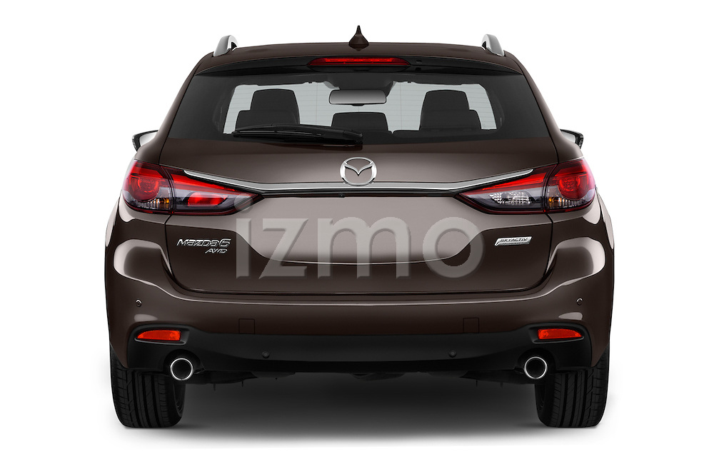 Straight rear view of 2015 Mazda Mazda 6 Skycruse 5 Door Wagon Rear View  stock images