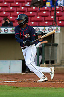 Cedar Rapids Kernels shortstop Yeltsin Encarnacion (43) swings at a pitch during a Midwest League game against the Bowling Green Hot Rods on May 2, 2019 at Perfect Game Field in Cedar Rapids, Iowa. Bowling Green defeated Cedar Rapids 2-0. (Brad Krause/Four Seam Images)