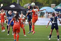 Kansas City, MO - Saturday May 07, 2016: FC Kansas City forward Shea Groom (2) and Houston Dash midfielder Amber Brooks (12) during a regular season National Women's Soccer League (NWSL) match at Swope Soccer Village. Houston won 2-1.