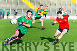 In Action Beale's Shane Hanrahan and Fossa's Daniel O'Keeffe in the Castleisland Mart Junior Club Football Championship Final Replay Beale V Fossa at Austin Stack Park on Sunday
