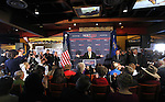 Republican presidential candidate Newt Gingrich speaks to about 200 supporters during a campaign stop at the Great Basin Brewing Company in Reno, Nev., on Wednesday, Feb. 1, 2012..Photo by Cathleen Allison