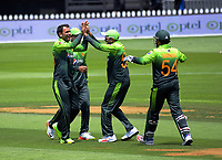 Fakhar Zaman (left) celebrates dismissing Martin Guptill for 48 during the One Day International cricket match between the NZ Black Caps and Pakistan at the Basin Reserve in Wellington, New Zealand on Saturday, 6 January 2018. Photo: Dave Lintott / lintottphoto.co.nz