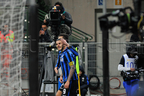 20.02.2016. Milan, Italy.  Mauo Icardi of FC Inter celebrate the third goal during the Italian Serie A League soccer match between Inter Milan and UC Sampdoria at San Siro Stadium in Milan, Italy.