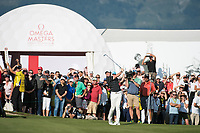Rory Mcilroy (NIR) in action on the 17th hole during second round at the Omega European Masters, Golf Club Crans-sur-Sierre, Crans-Montana, Valais, Switzerland. 30/08/19.<br /> Picture Stefano DiMaria / Golffile.ie<br /> <br /> All photo usage must carry mandatory copyright credit (© Golffile | Stefano DiMaria)