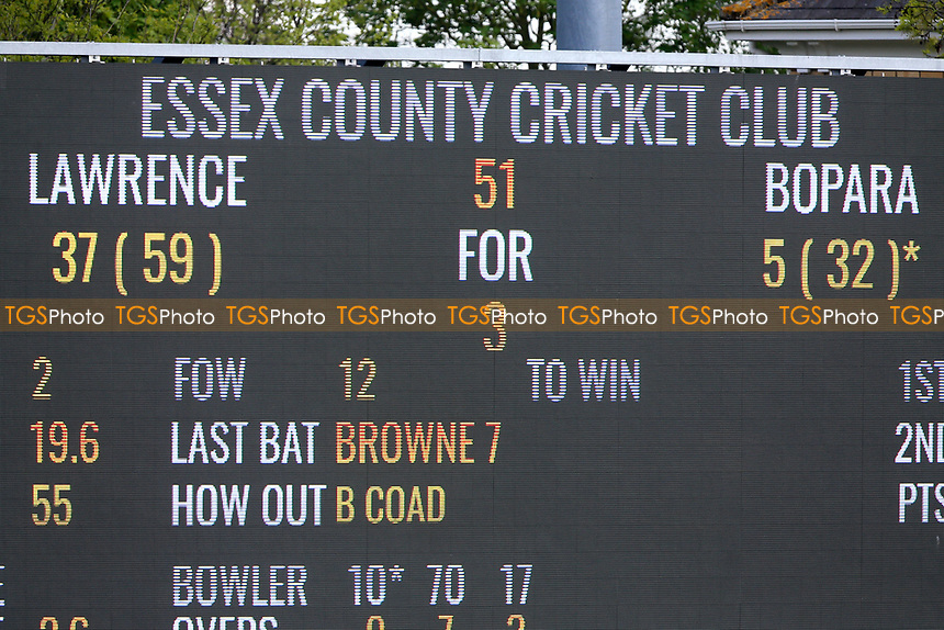 The scoreboard shows that Essex have moved into a first innings lead during Essex CCC vs Yorkshire CCC, Specsavers County Championship Division 1 Cricket at The Cloudfm County Ground on 4th May 2018