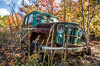 Rusted old abandoned car in the Ozarks on Arkansas.