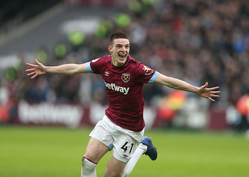 West Ham United's Declan Rice celebrates scoring his side's first goal <br /> <br /> Photographer Rob Newell/CameraSport<br /> <br /> The Premier League - West Ham United v Arsenal - Saturday 12th January 2019 - London Stadium - London<br /> <br /> World Copyright © 2019 CameraSport. All rights reserved. 43 Linden Ave. Countesthorpe. Leicester. England. LE8 5PG - Tel: +44 (0) 116 277 4147 - admin@camerasport.com - www.camerasport.com