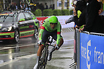 Alberto Bettiol (ITA) Cannondale Drapac in action during Stage 1, a 14km individual time trial around Dusseldorf, of the 104th edition of the Tour de France 2017, Dusseldorf, Germany. 1st July 2017.<br /> Picture: Eoin Clarke | Cyclefile<br /> <br /> <br /> All photos usage must carry mandatory copyright credit (&copy; Cyclefile | Eoin Clarke)