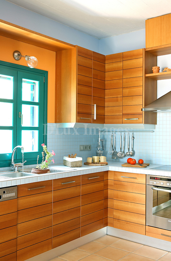contemporary kitchen with wooden cabinets