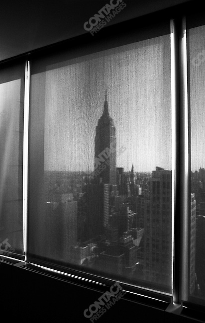 While John Kerry attended a closed event at Skadden Arps, the law firm,  views of Empire State building seen out the conference room window. New York, NY. September 20, 2004.