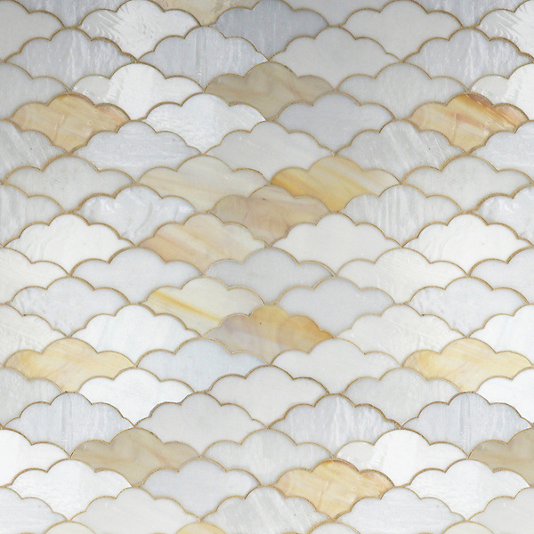 Clouds, a waterjet jewel glass mosaic in Opal, Agate, and Moonstone, is part of the Erin Adams Collection for New Ravenna Mosaics.