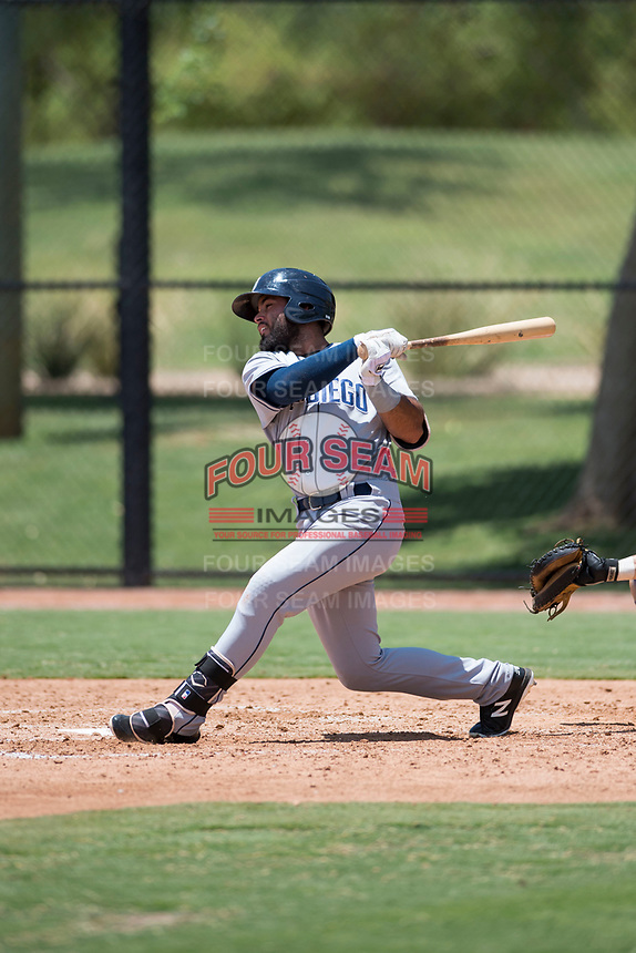 AZL Padres 2 left fielder Blinger Perez (14) follows through on his swing during an Arizona League game against the AZL Dodgers at Camelback Ranch on July 4, 2018 in Glendale, Arizona. The AZL Dodgers defeated the AZL Padres 2 9-8. (Zachary Lucy/Four Seam Images)