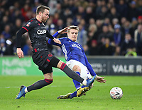 4th February 2020; Cardiff City Stadium, Cardiff, Glamorgan, Wales; English FA Cup Football, Cardiff City versus Reading; Danny Ward of Cardiff City is tackled by Chris Gunter of Reading as he closes in on goal