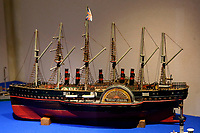 Antique model boats, among them, sailing ships, small sailboats, steamboats and submarines.<br /> Antique toys exposed at Palazzo Braschi during the Exhibition 'For fun. Collection of antique toys of Capitoline Superintendency'.<br /> Rome (Italy), July 24th 2020